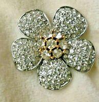 Vintage BOLD ELEGANCE Brand Signed Gold Silver Tone FLOWER RHINESTONE PIN BROOCH