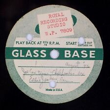 "JOE COX, CHUB LANDIS, EDDIE JENKINS: 1946 Acetate 12"" Jazz Glass 78 1946 HEAR"
