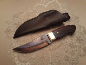 Raindrop Pattern Damascus Steel Knife & Leather Sheath