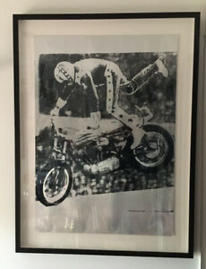 """Evel Knievel Framed Hand Pulled Art Print By """"Pure Evil"""" number 2 of 20"""
