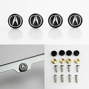 Laser Etched Black Aluminum Acura License Plate Frame Bolts Fastener Screws Cap