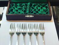 Boxed Set Of Antique Solid Silver Dessert Forks