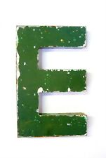 """1930s French Metal Letter E Shop Sign Painted Green ORIGINAL Industrial 10"""" Tall"""