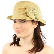Summer Derby 1920 Flapper Flip Side Floral Cloche Bucket Bell Church Hat Natural