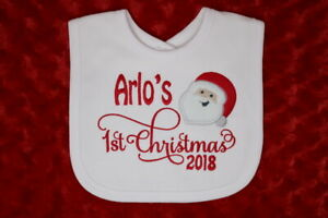 Personalised 1st First Christmas Xmas Baby Bib Choice of colours add a name year