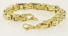 """Stainless Steel 18K Yellow Gold Plated Byzantine Men's Muscular Bracelet 8.5"""""""