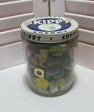 Vintage Skippy Peanut Butter Glass Jar full of Old Buttons Blue Label