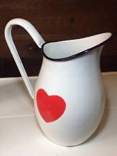 Vintage enamel water jug heart design made in Czechoslovakia