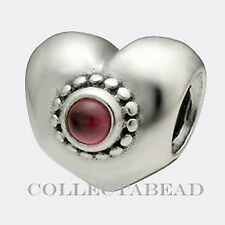 Authentic Pandora Sterling Silver Rhodolite Treasured Heart Bead 790573RHL