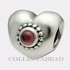 Authentic Pandora Sterling Silver Rhodolite Treasured Heart Bead 790573RHL