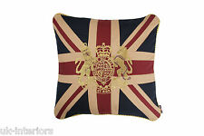"18"" VINTAGE ROYAL CREST CROWN & LION UNION JACK UK FLAG Woven Cotton Cushion"