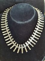 """Vintage TAXCO Mexico Sterling Silver MODERNIST Fish Bone Necklace Choker 16"""""""