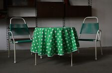 DDR MELA TOVAGLIA TONDO 70er biancheria da tavola soffitto tablecloth Apples Green Mele