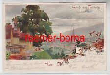 77606 Ak Lithographie Gruss aus Freiburg Totalansicht 1898