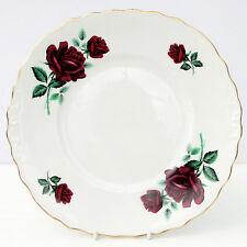 VINTAGE Crown Royal Bone China Piatto per torta rosso scuro Rose Floreale