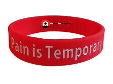 PAIN IS TEMPORARY Wristband Motivational Inspirational Ionic Tourmaline Neg Ion