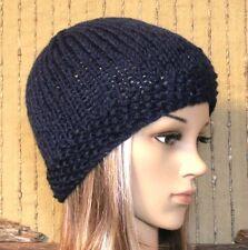 Navy Knit Hat Women's Men's Skull Cap Beanie Wool Knit, Winter Fall Accessories
