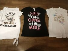 Justice Girls Short Sleeve 3 T Shirt Lot size 10 and 12