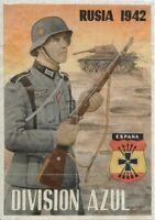 WW2 RATION CURRENCY SHEET w NAZI SOLDIER, SWASTIKA & TANK!! RUSSIA 1942 (8 x 12)