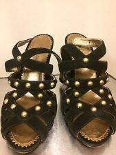 PRADA black heel sandals with gold studs, size 38.5