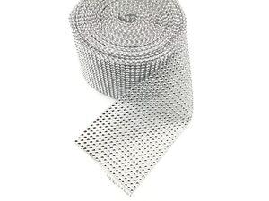 1 Yard 24 Lines Diamante Effect, Rhinestone Mesh Ribbon Sliver Trim Bridal Craft