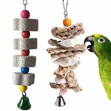 New listing Parrot Toys Chewing Bird Toy Cuttlebone Beak Grinding Stone Cage Hanging