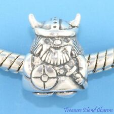 Viking Norseman Warrior .925 Solid Sterling Silver European Spacer Bead Charm