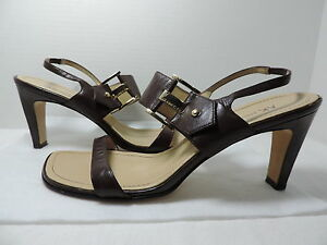 AK Anne Klein Brown Leather Slingback Sandals/Heels Size 7.5