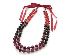 Red Facetted Bead and Ribbon Necklace (2 Row)
