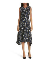 NEW Theory Nophella Poppy Sharkbite Hem Silk Dress in Black - Size 10 #D3352