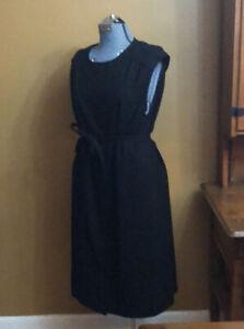 Vintage Women's Pendleton Sheath Dress Sleeveless Large Black 100% Virgin Wool