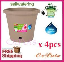 400mm Self Watering Plant Pots x 4pcs Latte - Indoor & Outdoor - Australian Made