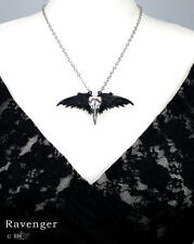 Ladies Gothic Necklace Raven Bird Skull Original Alchemy Silver Pewter Pendant