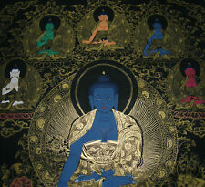 Traumhaftes Tibet. THANGKA: Die 8 MEDIZIN BUDDHAS GOLDMALEREI! 58x47cm