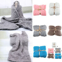 Chunky Knitted Thick Soft Blankets Hand Warm Bulky Knit Throw Sofa & Bed Blanket