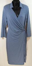 NEW The Limited Wrap Dress Blue White Geometric Medium M 3/4 sleeve