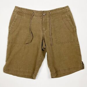 EDDIE BAUER Brown Linen Bermuda Shorts - Petite Size 4P