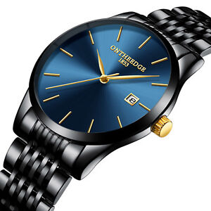 Men's Business Quartz Watch Stainless Steel Strap Calendar Waterproof Wristwatch