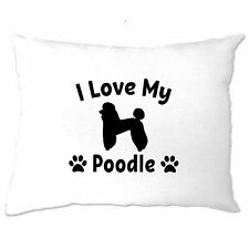 Dog Owner Pillow Case I Love My Poodle Slogan Pet Lover Cute Breed