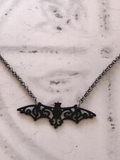 Filigree Black Bat Necklace Gothic Dracula Halloween