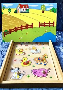 NEW Wooden toy,peg Jigsaw puzzle toy,toddler, Magnetic Board Game,animal shapes