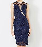AX Paris Lace Mesh Crochet Top Dress in Navy Size 10