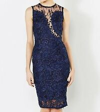 AX Paris Lace Mesh Crochet Top Dress in Navy Size 12