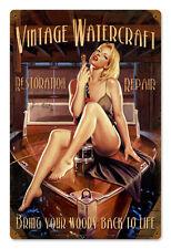 Woody Boating Hildebrandt Vintage Metal Sign Pinup Art Sexy SIGNED + FREE PRINT
