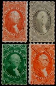 1862 - 1863 used $2 - $3 values (x4) Scott Cat #R82c - #R83c - #R84c - Cat#R85c.