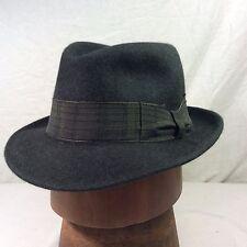 Dark Charcoal Heathered Grey Borsalino Fedora with Green Brown Band -Size 4 1/2