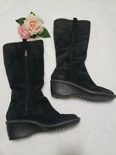 UGG Australia Women's 3342 Suede Sherpa Lined Wedge Heel Tall Boots Black SZ 10