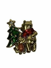 Disney Pooh & Piglet Christmas Tree Gold Tone & Enamel Pin Brooch Vintage