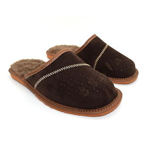 Mens Slippers Shoes Mule 100% Natural Leather Suede Sheeps Wool Hand Made 6-12