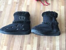 children boots black soft fluffy inside and out measures 6.5 inches